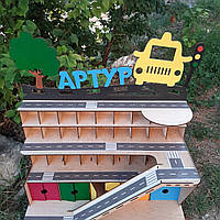 Детский деревянный паркинг. Детский гараж для машинок. Парковка.