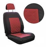 Чехлы автомобильные универсальные LUXE В ромбы черные+красная средина, фото 1
