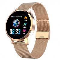 Умные Смарт часы Smart Watch PRO Q8 Круглый Original С Тонометром Золотой