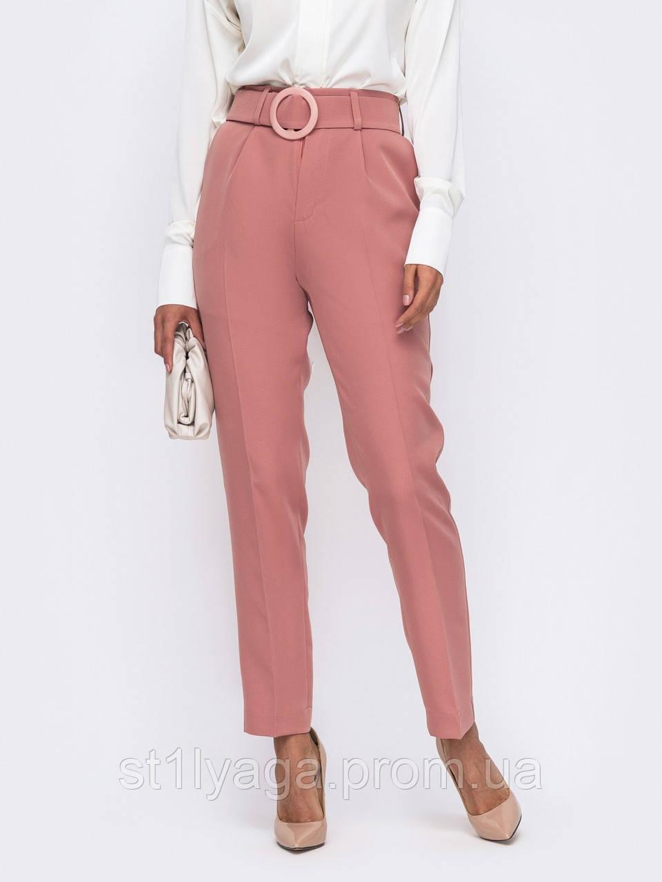 Зауженные брюки с высокой посадкой и  поясом в комплекте