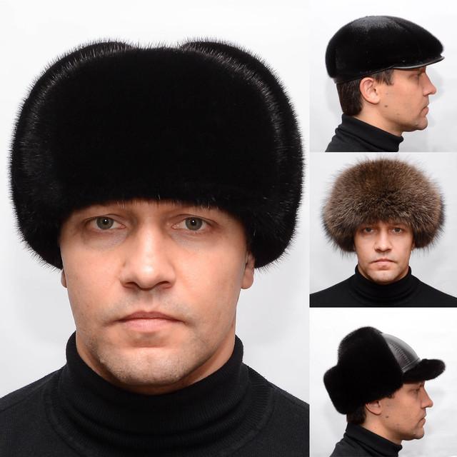 Мужские меховые шапки, кепки из меха норки, енота, нерпы, ондатры