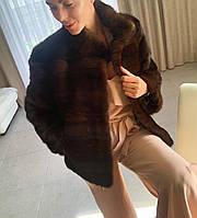 Норковая шуба 46 М поперечка коричневого цвета