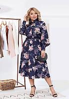 Элегантное платье А–силуэтав модный принт 6070 (48–58р) в расцветках