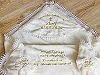 Крестильная крыжма кружевная с вышивкой