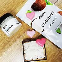 Набор HiLLARY Coconut Oil Scrub, кокосовое масло Premium Quality Coconut Oil 100 мл Мыло в форме сердечка
