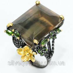 Серебряное кольцо с ФЛЮОРИТОМ (натуральный), серебро 925 пр. Размер 18,5
