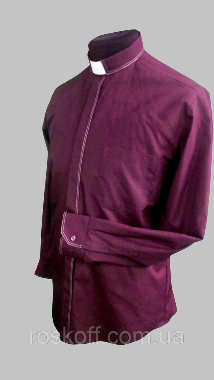 Бордовая рубашка с белой оздоблюющей строчкой с длинным рукавом