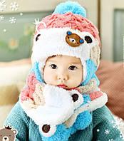 Шапка и шарф набор детский осень холодная зима шапка дитяча набір дитячий осінь зима
