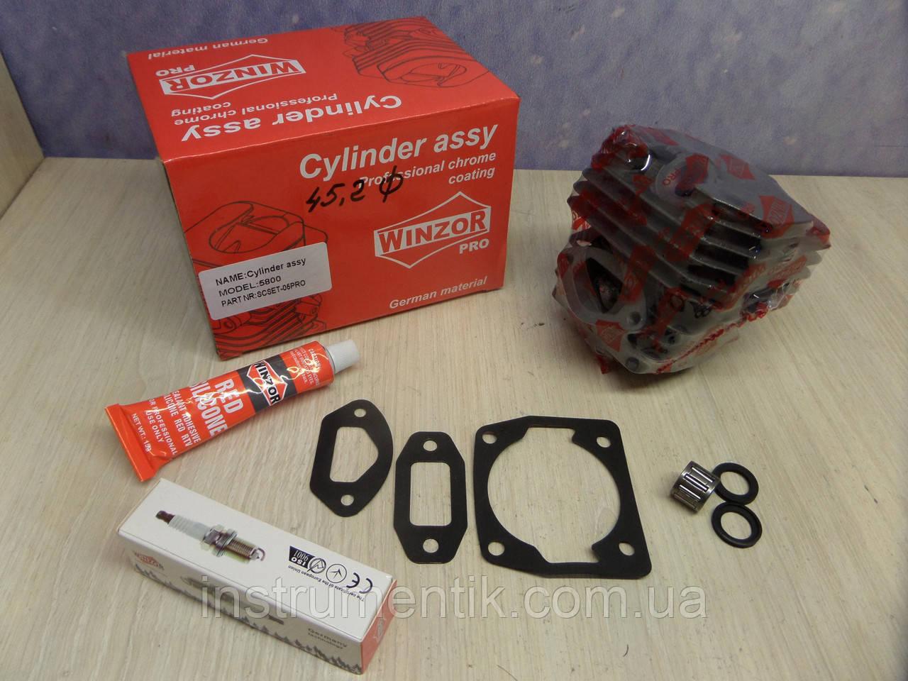 Цилиндр и поршень для бензопил 5800 Winzor + Ceramic/Grafite PRO SERIA