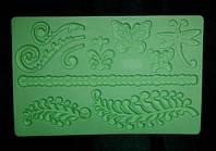 """Текстурный силиконовый мат """"Веточки+Бабочки"""" (код 01630)"""