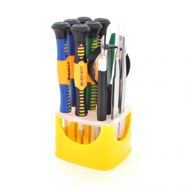 Набор инструментов Bakku BK-621, 12 в 1, 6 отверток, лупа, 2 пинцета, 2 лопатки, нож