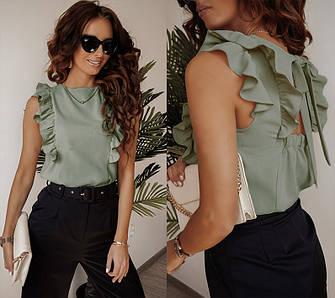 Блуза жіноча з рюшами і бантом елегантна відкрита спина колір оливковий