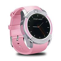 Смарт часы Smart Watch V8 / Умные часы + ПОДАРОК! Розовый