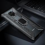 Противоударный защитный чехол KEYSION для Xiaomi Redmi Note 9 с кольцом Цвет Чёрный, фото 3