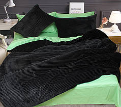 Постельное белье атин и плюш Черный, комплект евро