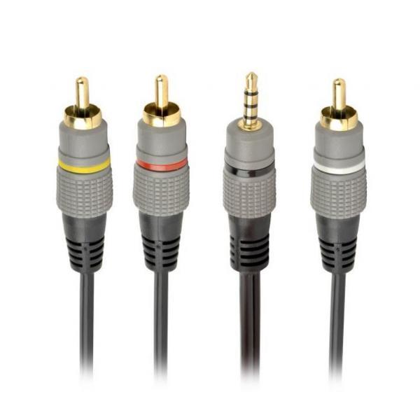Кабель мультимедийный 3.5 Jack (4pin) to 3RCA 1.5m Cablexpert (CCAP-4P3R-1.5M)