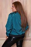 Женская тонкая куртка 52 размера, (48, 50, 52, 54, 56) плащевка, бомбер, ветровка, цвет Морская волна, фото 3