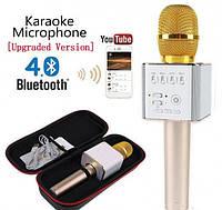 Караоке микрофон-колонка Q9 Plus Bluetooth 2 в 1 в футляре (Золотой), фото 1