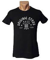Брендовая черная футболка Sport Line - №5028