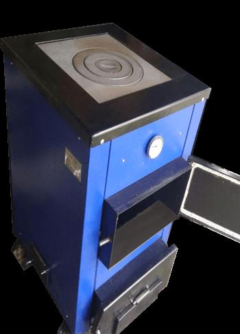 Твердотопливный универсальный котел с плитой Эталон КСТО-12П неприхотлив к топливу из стали 4 мм