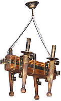 Люстра факел из дерева кованая на 4 факела 690724