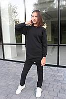 Костюм спортивный для девочки базовый трёхнитка туника оверсайз и брюки лосины чёрный