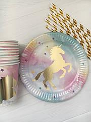 """Набор бумажной посуды - тарелочки, стаканчики и трубочки  """"Единорог"""" (на 10 персон)"""