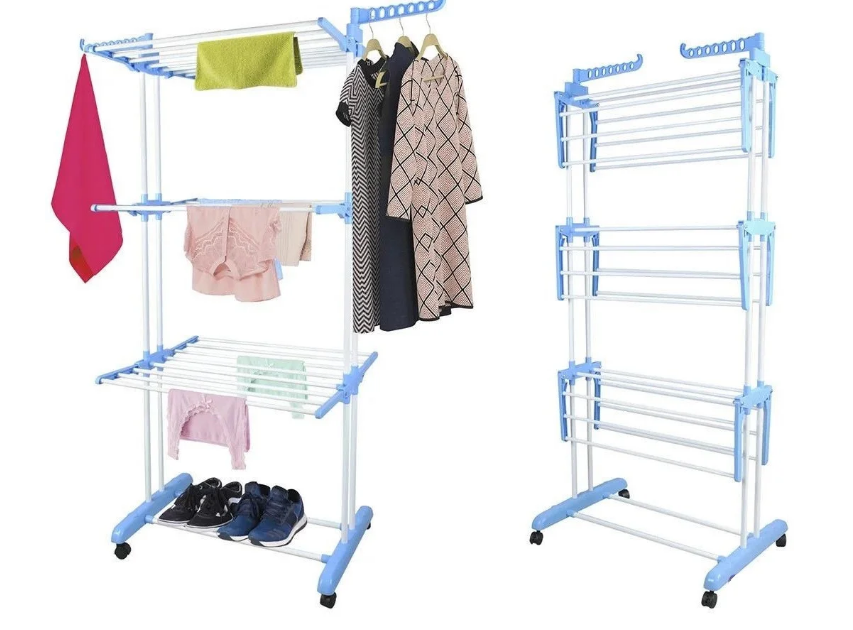 Универсальная складная напольная сушилка для одежды и вещей Garment Rack | Сушка для белья складная