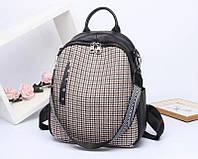 Стильный молодёжный рюкзак из натуральной кожи. Кожаный рюкзак в клетку.