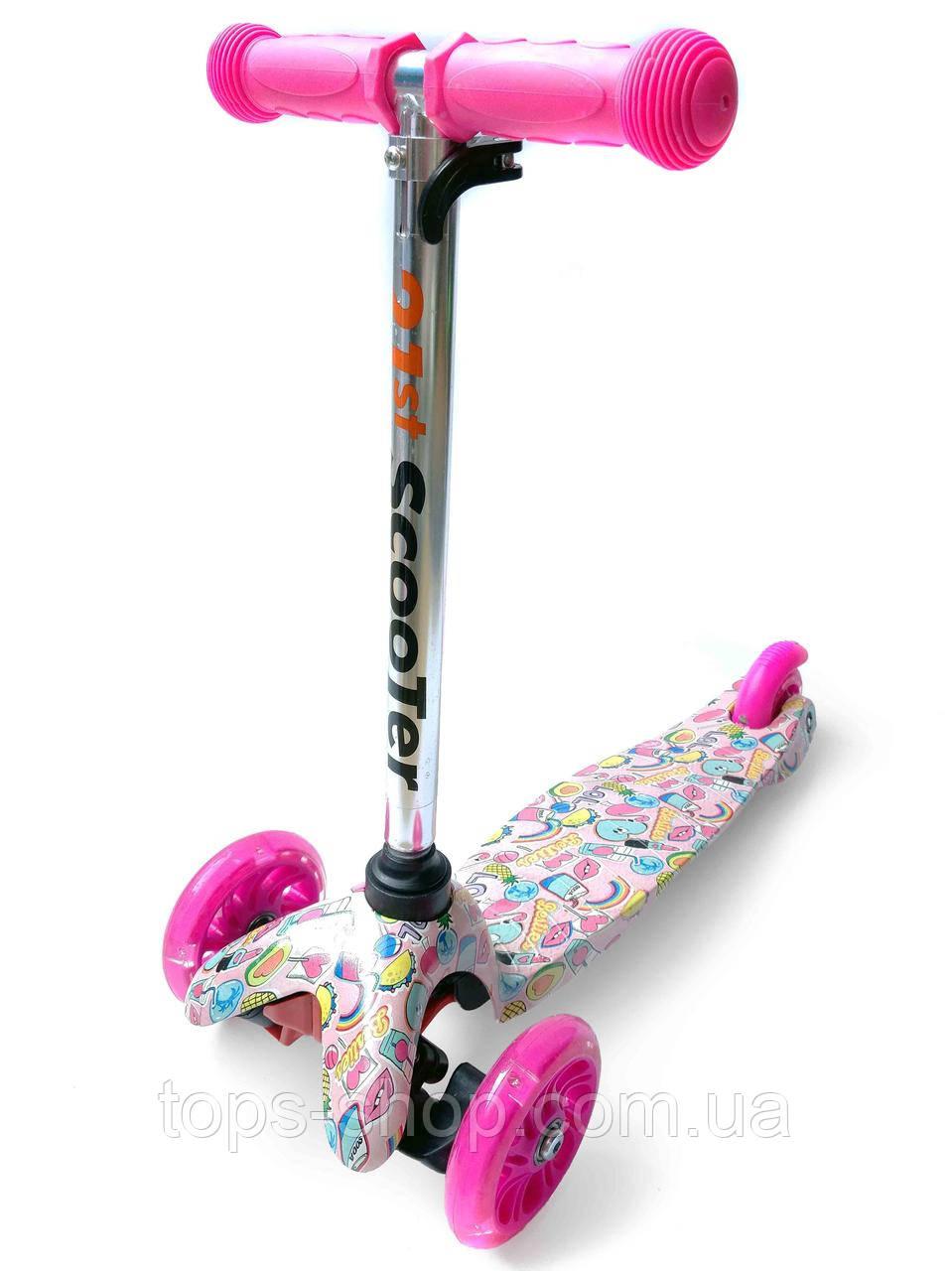 Трехколесный самокат со светящимися колесами розовый абстракция Best Scooter Mini