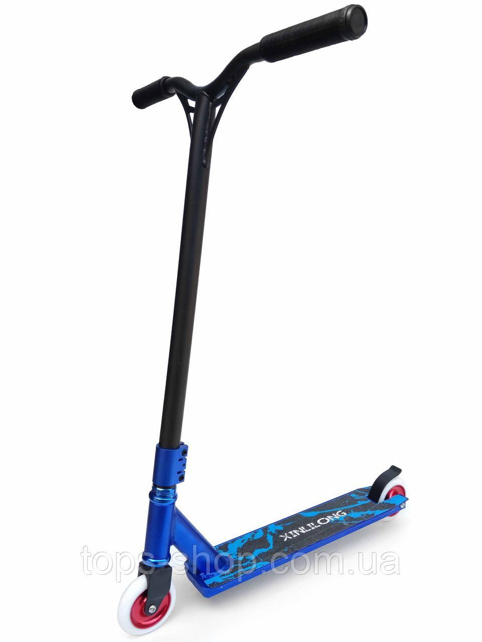 Трюковый Самокат Scooter-Vip , 100 мм Синий , колеса литые алюминий/каучук, для взрослых и детей