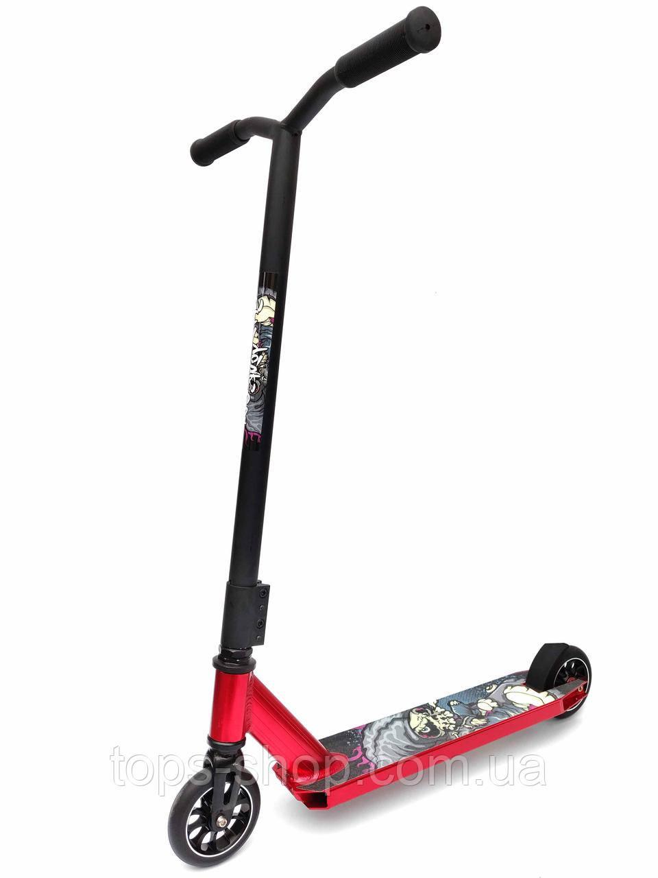 Трюковый Самокат от Scooter – Aluminium Stunt 060Y, 110 мм Красный , колеса литые алюминий /полиуретан