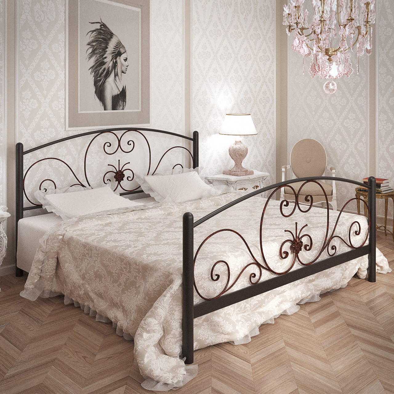 Кровать металлическая двуспальная Нимфея