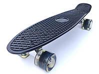 Скейт Penny Board, с широкими светящимися колесами Пенни борд, детский , от 4 лет, Цвет Черный