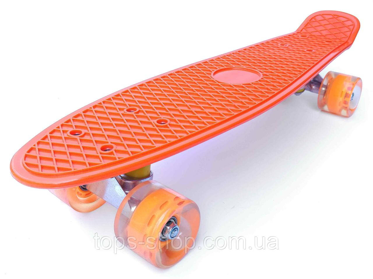 Скейт Penny Board, с широкими светящимися колесами Пенни борд, детский , от 4 лет, Цвет Оранжевый