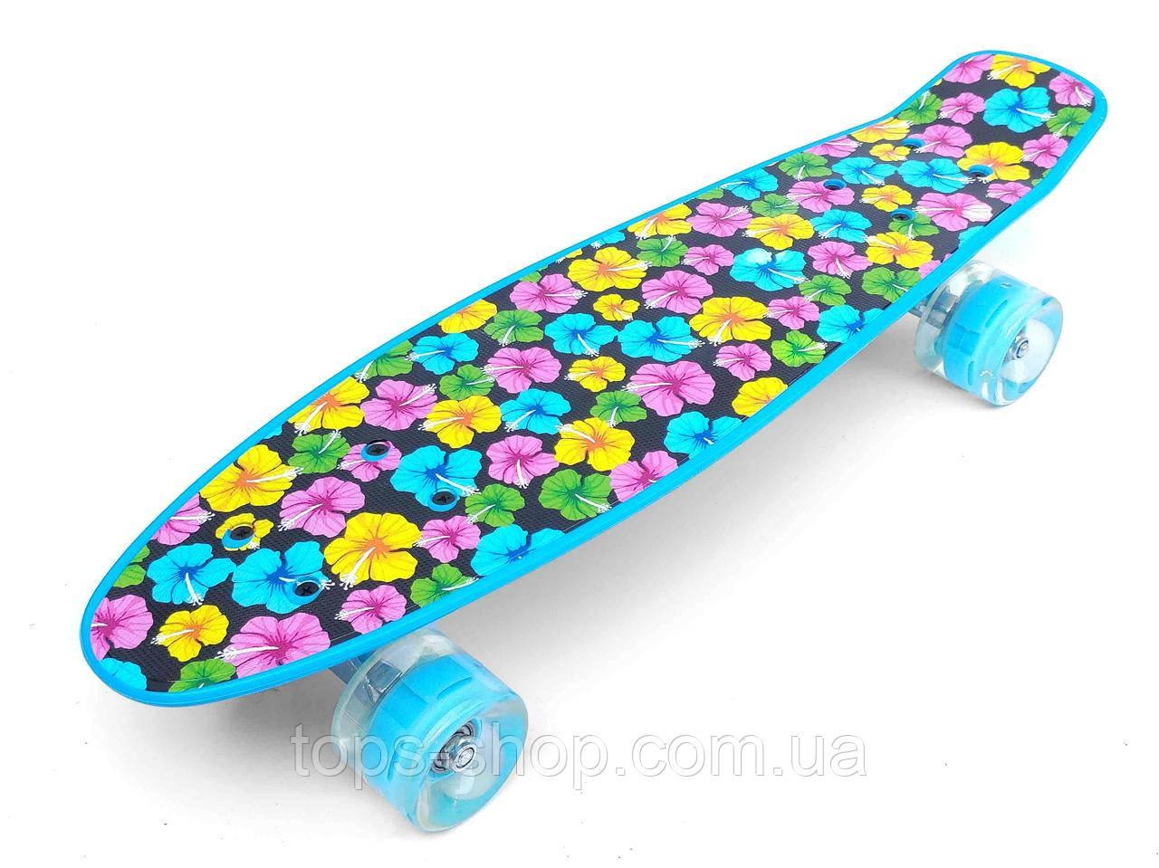 Скейт Penny Board, с широкими светящимися колесами Пенни борд, детский , от 5 лет, расцветка Цветки