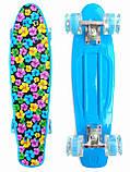 Скейт Penny Board, с широкими светящимися колесами Пенни борд, детский , от 5 лет, расцветка Цветки, фото 2