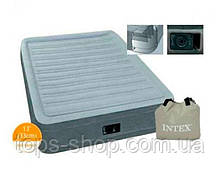 Надувне ліжко Велюр Intex 191х99х33см, вбудований електронасос, Односпальне 67766
