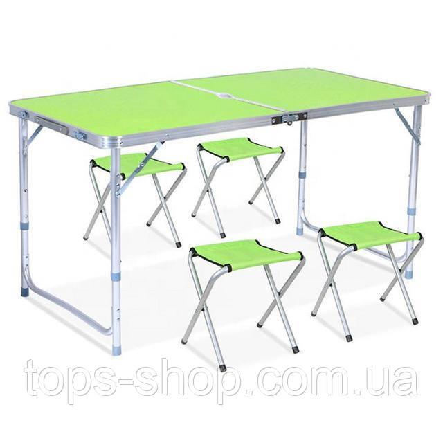 Стол для пикника усиленный с 4 стульями Folding Table, стол туристический складной, 120х60х55 см ( зеленый )