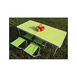 Стол для пикника усиленный с 4 стульями Folding Table, стол туристический складной, 120х60х55 см ( зеленый ), фото 2