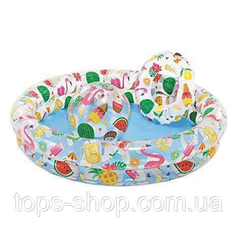"""Intex Бассейн 59460 """"Звёзды"""" Мячик и Круг, детский, 2 кольца, цветной с набором, размером 122х25см, от 2-х лет"""