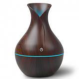 Увлажнитель воздуха ночник Ultrasonic Aroma Humidifier c подсветкой 7 цветов, USB Темно-коричневый, фото 5