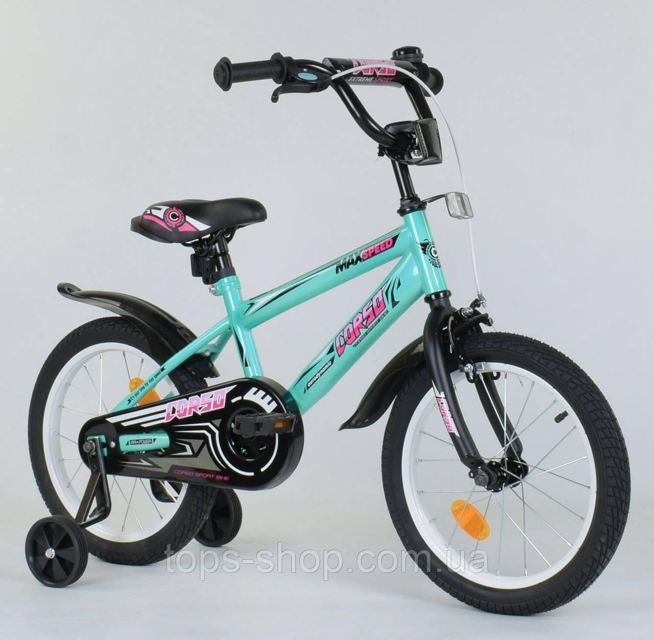 Двоколісний дитячий велосипед 16 дюймів Corso ЕХ-16 N 5171 Бірюзовий, 4-6 років, бокові колеса, ручного гальма