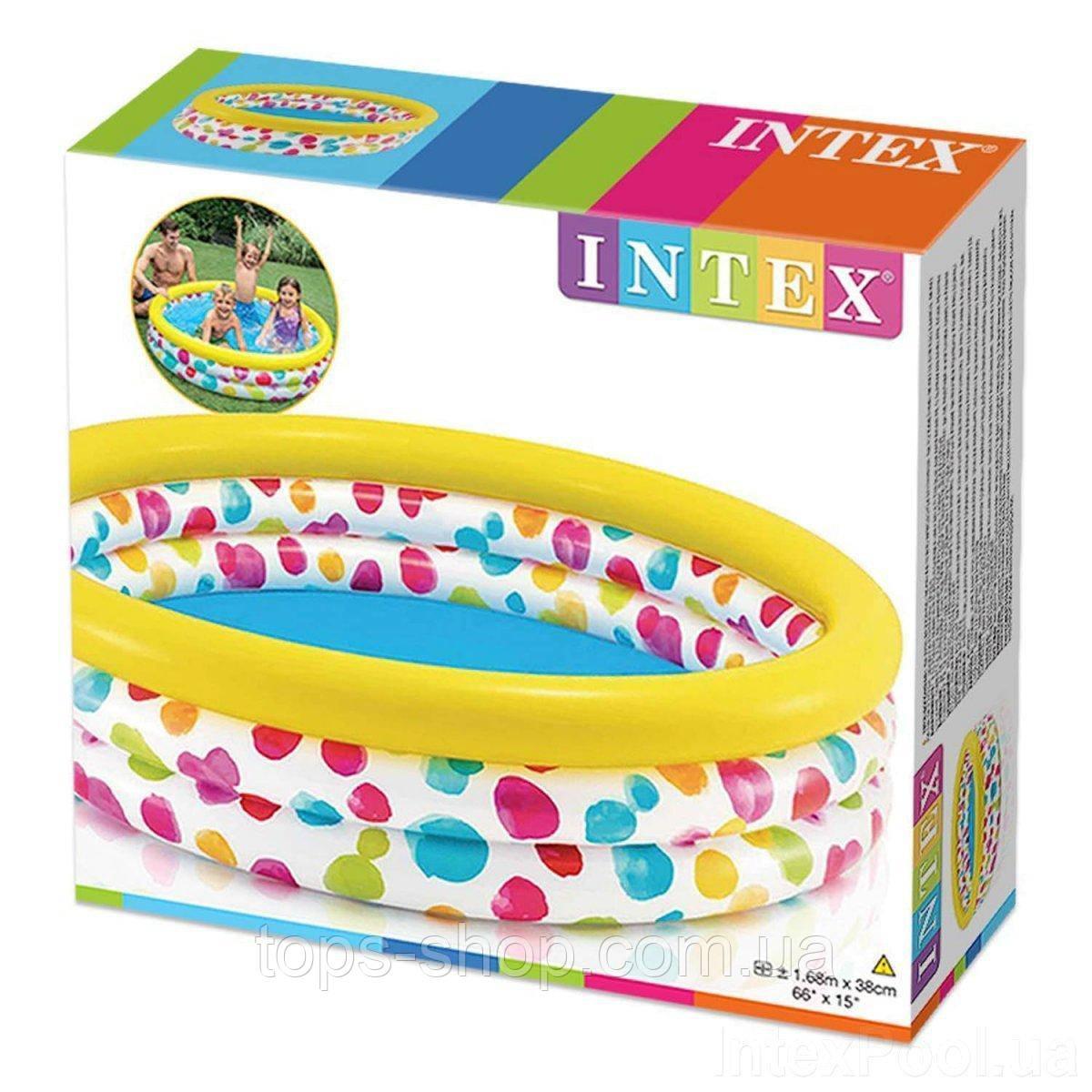 """Intex детский надувной Бассейн 58449 """"Геометрия"""" размером 168х38 см, объёмом 581 л, весом 2,1 кг, от 2-х лет"""