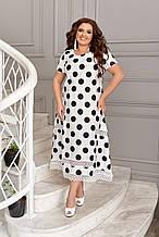 Літнє плаття жіноче великого розміру 48, 50, 52, 54, 56, плаття в горох короткий рукав, батальне