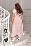 Летнее платье женское большого размера 48, 50, 52, 54, 56, платье в мелкий горох короткий рукав, батальное, фото 3