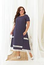 Літнє плаття жіноче великого розміру 48, 50, 52, 54, 56, сукня в дрібний горох короткий рукав, батальне