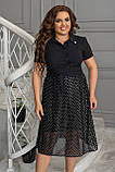 Ошатне літнє плаття жіноче, з рубашечным коміром, великих розмірів 48,50,52,54, Чорне в горох, фото 2