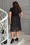 Ошатне літнє плаття жіноче, з рубашечным коміром, великих розмірів 48,50,52,54, Чорне в горох, фото 3