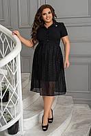 Нарядное летнее платье женское, с рубашечным воротником, больших размеров 48,50,52,54, Черное в горох